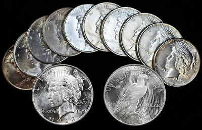 10 Piece Lot US Peace Dollars-1922 P & S and 1923 P & S Fine/Very Fine Condition