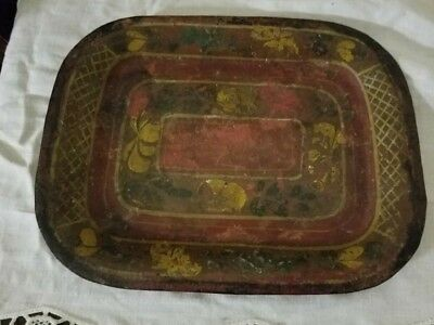 Rare Antique Pennsylvania  toleware tray, tin hand painted, dutch, primitive