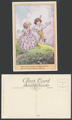 F.W. Artist Signed Old Postcard Hills Sky High Free Love to Be You & Me, Dancing