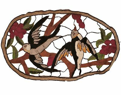 Vintage 1930s Embroidered Applique for Cushion Swallow Birds Pillow Embroidery