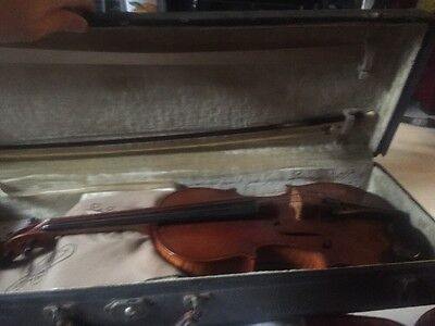 Antique Violin Saxony With Case, Bow, Rosin Bundle
