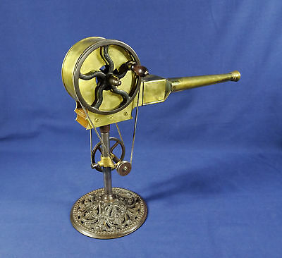 Antique Ca. 1875 English Victorian BRASS HAND CRANK FIREPLACE BELLOWS - RARE!!!