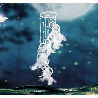 Dream Catcher Feathers White Polycyclic Beads Wall Hanging Home Car Craft Decor