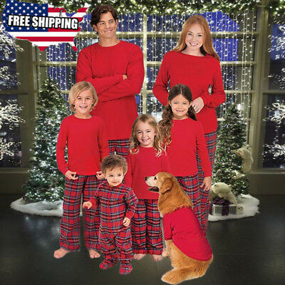 US Family Matching Christmas Pajamas Set Women Men Kids Sleepwear-Nightwear HOT