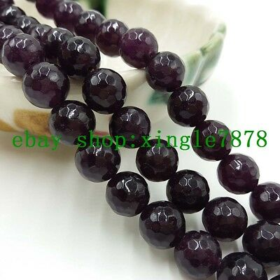 """Natural 8mm Red Garnet Round Faceted Gemstone Loose Beads 15"""" AAA 999"""