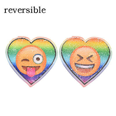 love hearted emoji reversible sequined sew on patches for clothes embroidered R