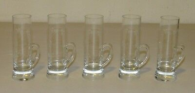Set of 5 Antique Floral Etched Glass Handled Aperitif Cordial Shot Glasses, 4""