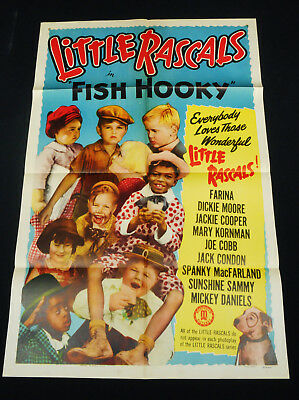 FISH HOOKY R52 * OUR GANG/LITTLE RASCALS * HAL ROACH COMEDY *  27x41 ONE SHEET!!