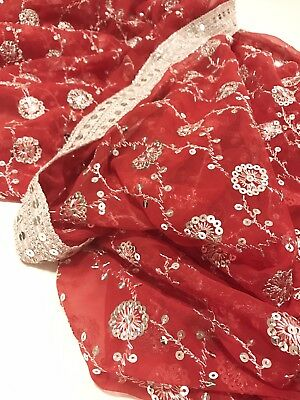 Pre-Owned Red with Silver Trim Embroidered Bollywood Wedding Indian Sari (Saree)