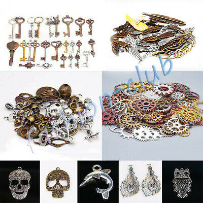 Lots Retro Steampunk Pendants Skull Cross Gear Wing Charms Jewelry Making Crafts