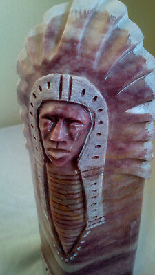 "Stunning Navajo Tribal Hand Carved Stone Chief Joseph Sculpture 9 1/2"" Signed"
