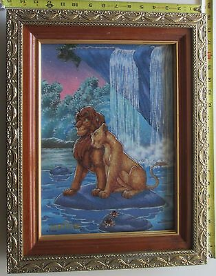 Framed Artwork Made From Genuine Crushed Gemstones Depicting the Lion King