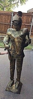 5 Foot** Rare** Metal Knight Sculpture Brass Colored Statue