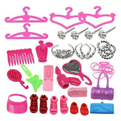 42pcs/Set Doll Accessories For Barbie Dolls Clothing Dresses Shoes Hangers Toys