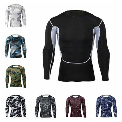 AU Men Outdoor Sports Quick Dry Base Layers Long Sleeve Compression Workout Top