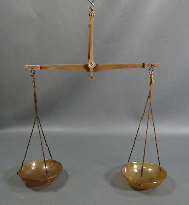 Antique German Apothecary Pharmacy Traveling Brass Balance Scales Horn Cups 200g