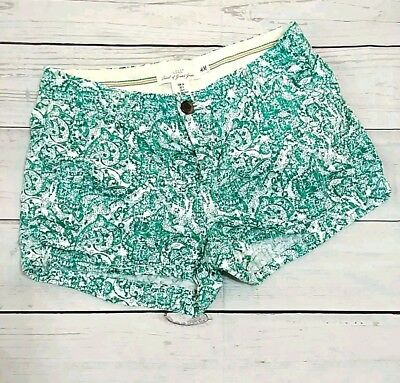 L.O.G.G. By H&M Womens Size 4 Green White Paisley Low Rise Mini Short Shorts A5