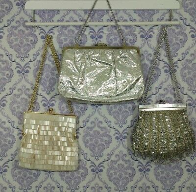 Vintage Beaded Purses Lot Of 3 Small Silver Evening Clutch Bags + Silver Gloves