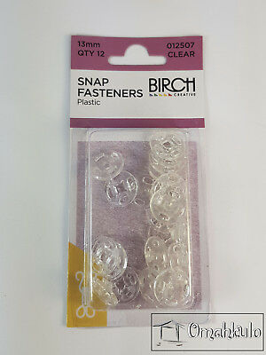 BIRCH - Plastic / Nylon Snap Fasteners - 13mm - Clear - 12 Pack