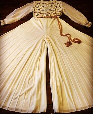 RARE Vintage 70s ALFRED SHAHEEN Wide Legged Jumpsuit
