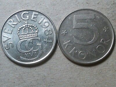 Sweden lot of 2 x 5 kronor 1982 1984