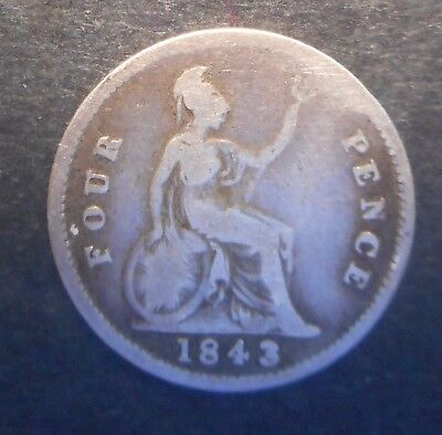 Great Britain 1843  Victoria  4d Fourpence Groat  Silver Coin