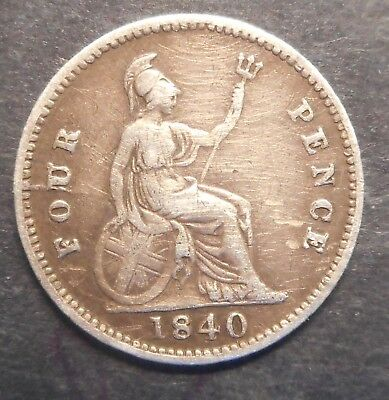 Great Britain 1840  Victoria  4d Fourpence Groat  Silver Coin Nice