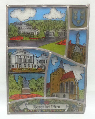 VTG Austrian Stained Glass Metal Framed Window Painted Panel Baden at Vienna