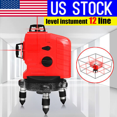 USA 3D Red 12 Line Laser Level Self Leveling 360° Vertical & Horizontal Measure