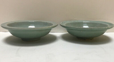 Pair of antique Chinese Celadon Fish bowls