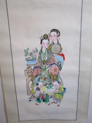 D47003 Vintage Chinese Wall Hanging Scroll Panel
