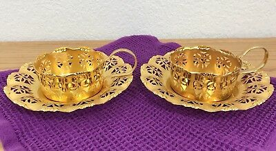 Vintage Hallmarked Decorative Gold Electroplated Brass Cup & Saucer Set 2 Each