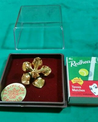Singapore orchid brooch 22k gold plated