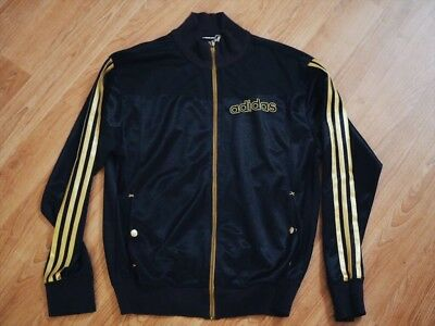 New Adidas Unisex Men Women Original Black Gold Stripe Jacket Zip up Size S