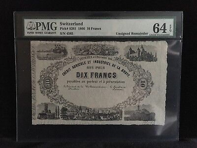 SWITZERLAND 10 Francs 1866 P-S261~ PMG 64 EPQ ~ RARE
