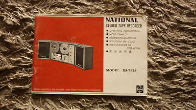 OLD 1970s NATIONAL STEREO TAPE RECORDER MODEL RS-761S OPERATING MANUAL