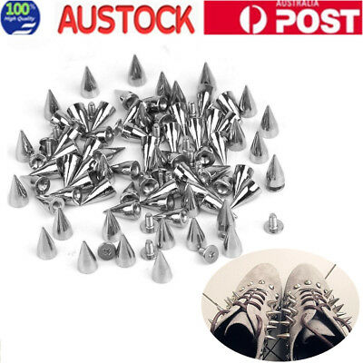 100X Silver METAL Silver Cone Screw Spikes Punk Belt Bag Leather craft Clothes