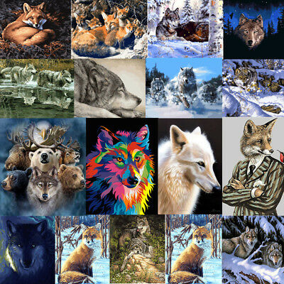 Wolf Animals Acrylic Paint By Numbers Kit With Brush Oil Painting On Canvas Gift