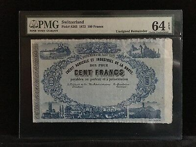 SWITZERLAND 100 Francs 1872 P-S263~ PMG 64 EPQ ~ RARE