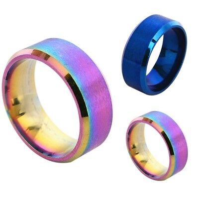 Rainbow Color 8mm Stainless Steel Band Spinner Chain Wedding Gift Ring Size 5-14