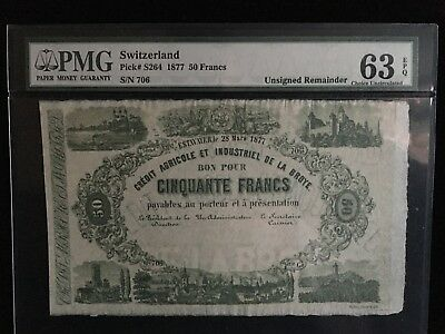 1877 SWITZERLAND 50 Francs  P-S264~ PMG 63 EPQ ~ LOW Serial Number 706