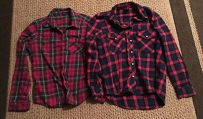 Women's Shirt LOT 2 Forever 21 Flannel Plaid Button Up Small PREOWN