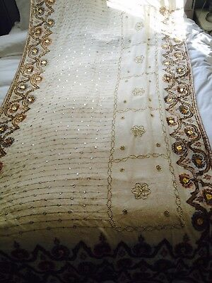 Cream and Gold Bollywood Fancy Indian Georgette Saree (Sari)