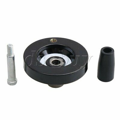 Black 63x8mm Machine Milling Handwheel with Revolving Handle Grip