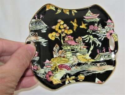 Royal Winton Grimwades Pierced Twin Handle Dish Pekin Black Colourway