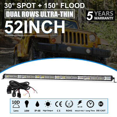 10D Curved LED Light Bar 52 Inch Quad-Row 6272W CREE Flood Spot Driving VS 50''