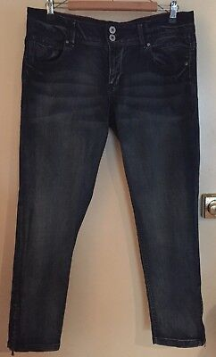 New Womens Blue Ankle Grazer Skinny Jeans With Zips Up The Ankles Size 16