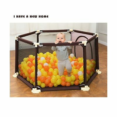 Portable Playard Surround 6-Panel Indoor Outdoor Children Safe Protection Fence