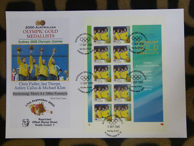 SOUVENIR STAMP SHEET FIRST DAY COVER SYDNEY OLYMPIC GOLD MEDALLISTS - 4x100m