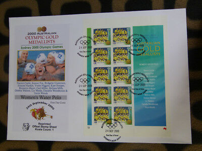 Souvenir Stamp Sheet Fdc Sydney Olympic Gold Medallists - Womens Water Polo